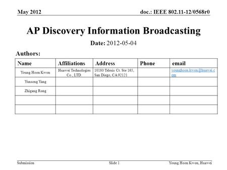 Doc.: IEEE 802.11-12/0568r0 Submission May 2012 Young Hoon Kwon, Huawei Slide 1 AP Discovery Information Broadcasting Date: 2012-05-04 Authors: NameAffiliationsAddressPhoneemail.
