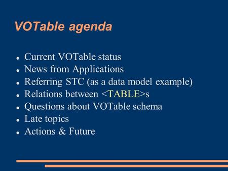 VOTable agenda Current VOTable status News from Applications Referring STC (as a data model example) Relations between s Questions about VOTable schema.