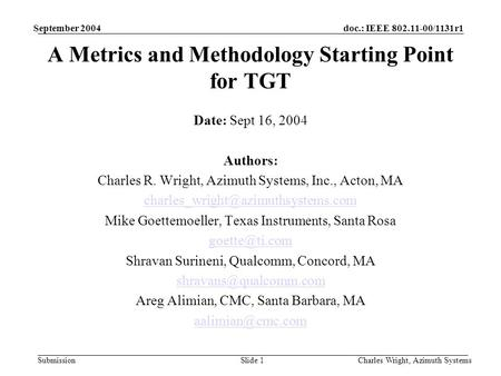 Doc.: IEEE 802.11-00/1131r1 Submission September 2004 Charles Wright, Azimuth SystemsSlide 1 A Metrics and Methodology Starting Point for TGT Date: Sept.
