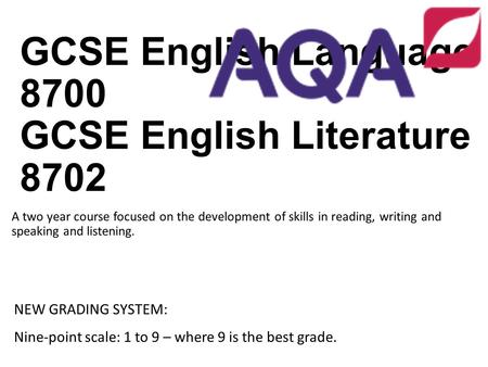 GCSE English Language 8700 GCSE English Literature 8702 A two year course focused on the development of skills in reading, writing and speaking and listening.