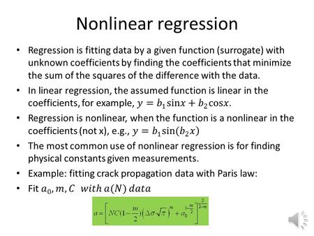Nonlinear regression Review of Linear Regression.
