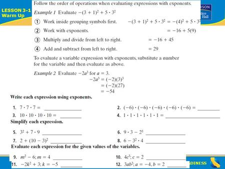 ALGEBRA READINESS LESSON 3-1 Warm Up Lesson 3-1 Warm Up.