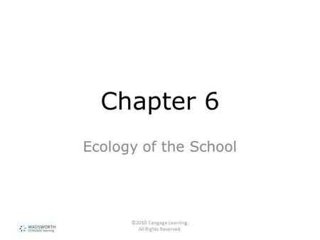 ©2010 Cengage Learning. All Rights Reserved. Chapter 6 Ecology of the School.
