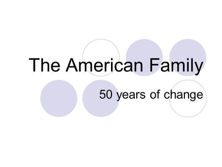 The American Family 50 years of change. Change… The American family has undergone tremendous change in the last 50 years. Some argue that family life.