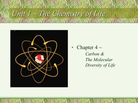 Unit 1 – The Chemistry of Life Chapter 4 ~ Carbon & The Molecular Diversity of Life.