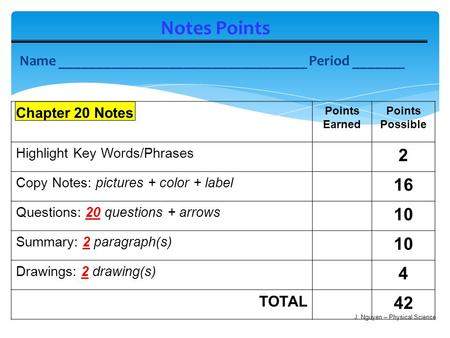 Notes Points Name __________________________________ Period _______ Chapter 20 Notes Points Earned Points Possible Highlight Key Words/Phrases 2 Copy Notes: