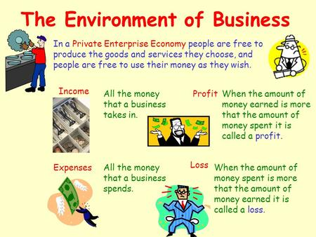 The Environment of Business In a Private Enterprise Economy people are free to produce the goods and services they choose, and people are free to use.