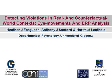 Detecting Violations In Real- And Counterfactual- World Contexts: Eye-movements And ERP Analysis Heather J Ferguson, Anthony J Sanford & Hartmut Leuthold.