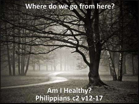 Philippians c2 v12-17 Am I Healthy? Where do we go from here?