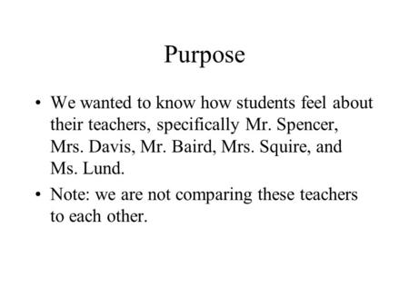 Purpose We wanted to know how students feel about their teachers, specifically Mr. Spencer, Mrs. Davis, Mr. Baird, Mrs. Squire, and Ms. Lund. Note: we.