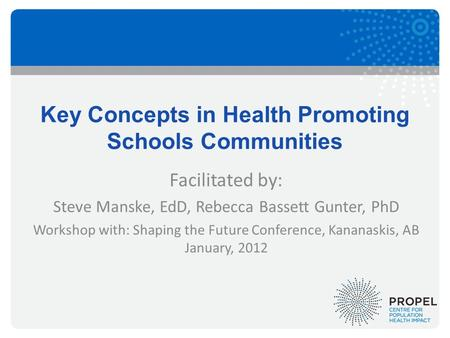 Key Concepts in Health Promoting Schools Communities Facilitated by: Steve Manske, EdD, Rebecca Bassett Gunter, PhD Workshop with: Shaping the Future Conference,