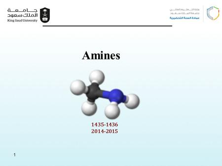1 1 1435-1436 2014-2015 Amines. 2 Learning Objectives Chapter ten discusses the following topics and by the end of this chapter the students will:  Know.