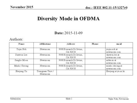 Submission September 2015 doc.: IEEE 802.11-15/1327r0 November 2015 Yujin Noh, Newracom Slide 1 Diversity Mode in OFDMA Date: 2015-11-09 Authors: