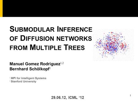 1 1 MPI for Intelligent Systems 2 Stanford University Manuel Gomez Rodriguez 1,2 Bernhard Schölkopf 1 S UBMODULAR I NFERENCE OF D IFFUSION NETWORKS FROM.