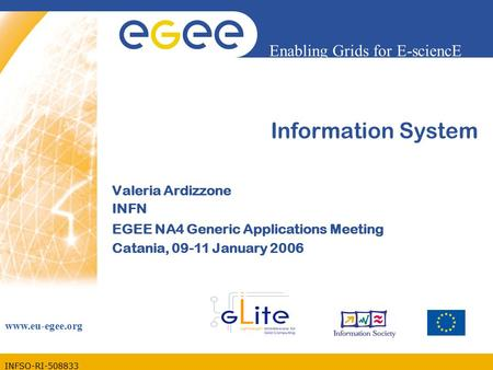 INFSO-RI-508833 Enabling Grids for E-sciencE www.eu-egee.org Information System Valeria Ardizzone INFN EGEE NA4 Generic Applications Meeting Catania, 09-11.