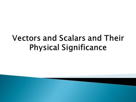 Vectors and Scalars and Their Physical Significance.