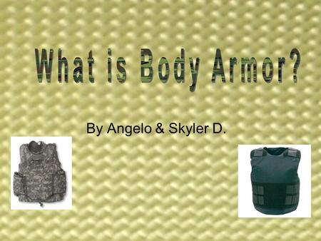 By Angelo & Skyler D.. What is Body Armor? We picked body armor. Body armor is like a type of clothing that protects you from bullets and harm to the.