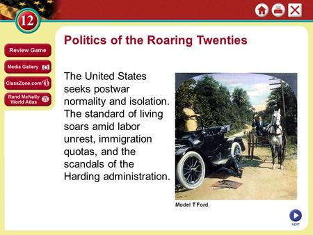 Model T Ford. Politics of the Roaring Twenties The United States seeks postwar normality and isolation. The standard of living soars amid labor unrest,