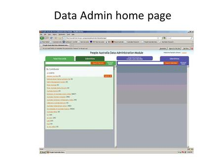 Data Admin home page. New (unmatched) record Identity record.