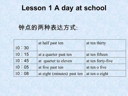Lesson 1 A day at school 钟点的两种表达方式 : 1 0 ︰ 30 at half past tenat ten thirty 1 0 ︰ 15 at a quarter past tenat ten fifteen 1 0 ︰ 45 at quarter to elevenat.