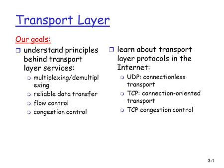 3-1 Transport Layer Our goals: r understand principles behind transport layer services: m multiplexing/demultipl exing m reliable data transfer m flow.