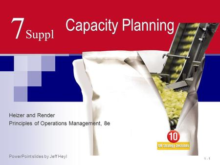 1 - 1 7 Suppl Capacity Planning Heizer and Render Principles of Operations Management, 8e PowerPoint slides by Jeff Heyl.