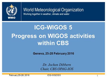 World Meteorological Organization Working together in weather, climate and water ICG-WIGOS 5 Progress on WIGOS activities within CBS WMO Dr. Jochen Dibbern.