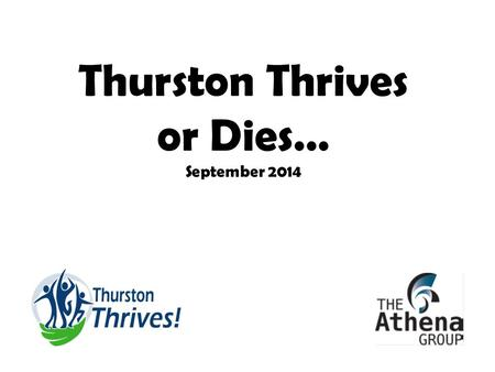 Thurston Thrives or Dies… September 2014. Model of Population Health Requires the collective impacts of Thurston Thrives Health Care & Social Services.