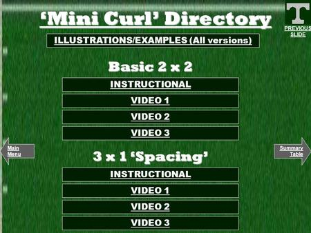 'Mini Curl' Directory INSTRUCTIONAL ILLUSTRATIONS/EXAMPLES (All versions) VIDEO 2 VIDEO 1 Basic 2 x 2 Summary Table Main Menu PREVIOUS SLIDE VIDEO 3 3.