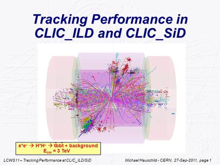 LCWS11 – Tracking Performance at CLIC_ILD/SiD Michael Hauschild - CERN, 27-Sep-2011, page 1 Tracking Performance in CLIC_ILD and CLIC_SiD e + e –  H +