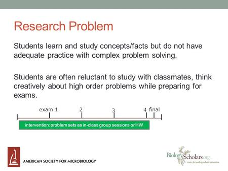 Research Problem Students learn and study concepts/facts but do not have adequate practice with complex problem solving. Students are often reluctant to.