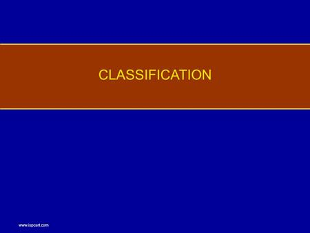 Www.ispcert.com CLASSIFICATION. www.ispcert.com Classification Marking requirements Test CONTENTS.