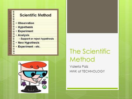 The Scientific Method Valeria Paiz HWK of TECHNOLOGY.