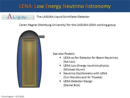 Caren Hagner – 15.5.2012 LENA: Low Energy Neutrino Astronomy The LAGUNA Liquid Scintillator Detector Caren Hagner (Hamburg University) for the LAGUNA-LENA.