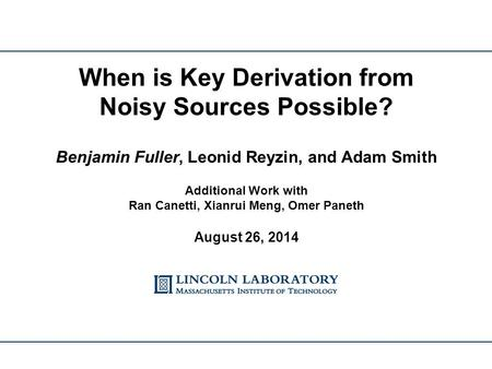 When is Key Derivation from Noisy Sources Possible?