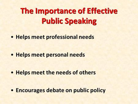 The Importance of Effective Public Speaking Helps meet professional needs Helps meet personal needs Helps meet the needs of others Encourages debate on.