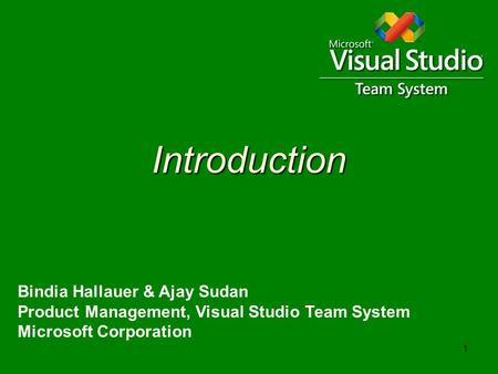 1 Introduction Bindia Hallauer & Ajay Sudan Product Management, Visual Studio Team System Microsoft Corporation.