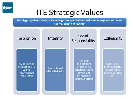 ITE Strategic Values Inspiration By an earned reputation as a valued professional organization. Integrity By words and ethical behavior. Social Responsibility.