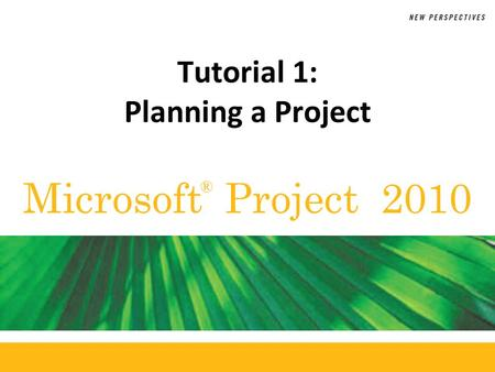Microsoft Project 2010 ® Tutorial 1: Planning a Project.