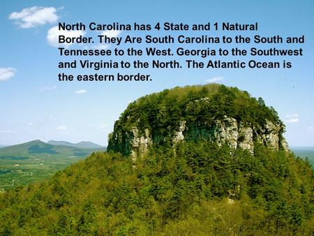 North Carolina has 4 State and 1 Natural Border. They Are South Carolina to the South and Tennessee to the West. Georgia to the Southwest and Virginia.