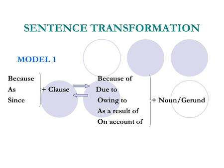 SENTENCE TRANSFORMATION Because Because of As + Clause Due to SinceOwing to + Noun/Gerund As a result of On account of MODEL 1.