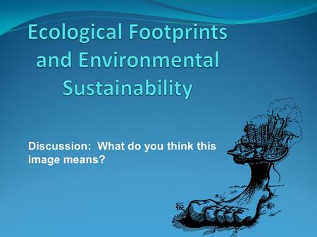 Discussion: What do you think this image means?. What is an ecological footprint?