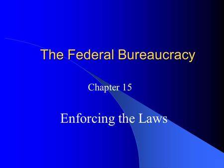 The Federal Bureaucracy Chapter 15 Enforcing the Laws.