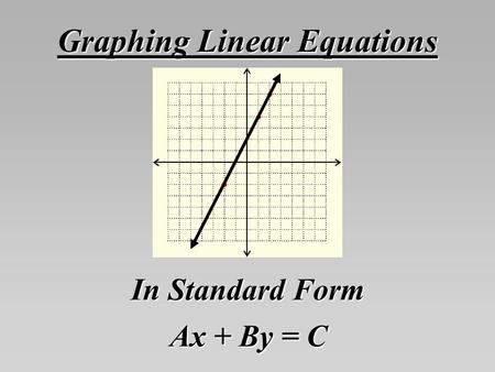 Graphing Linear Equations In Standard Form Ax + By = C.