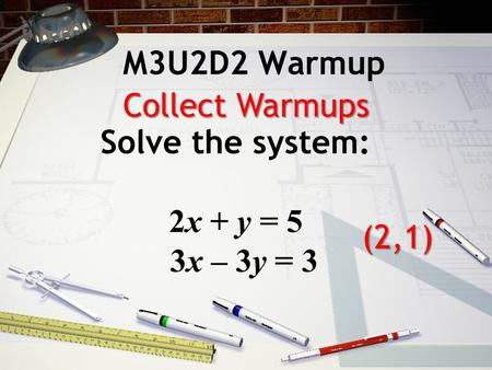 M3U2D2 Warmup Solve the system: 2x + y = 5 3x – 3y = 3 (2,1) Collect Warmups.