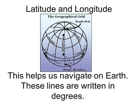 Latitude and Longitude This helps us navigate on Earth. These lines are written in degrees.