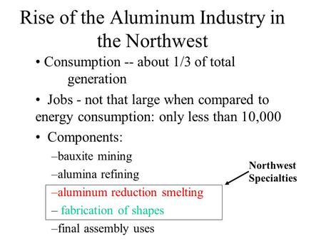 Rise of the Aluminum Industry in the Northwest Consumption -- about 1/3 of total generation Jobs - not that large when compared to energy consumption: