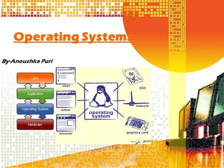 Operating Systems By-Anoushka Puri. What is an Operating System An operating system is an interface between the user and the computer hardware. It is.