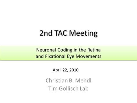 2nd TAC Meeting Christian B. Mendl Tim Gollisch Lab Neuronal Coding in the Retina and Fixational Eye Movements Neuronal Coding in the Retina and Fixational.