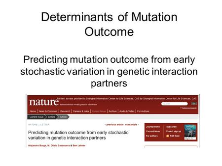 Determinants of Mutation Outcome Predicting mutation outcome from early stochastic variation in genetic interaction partners.